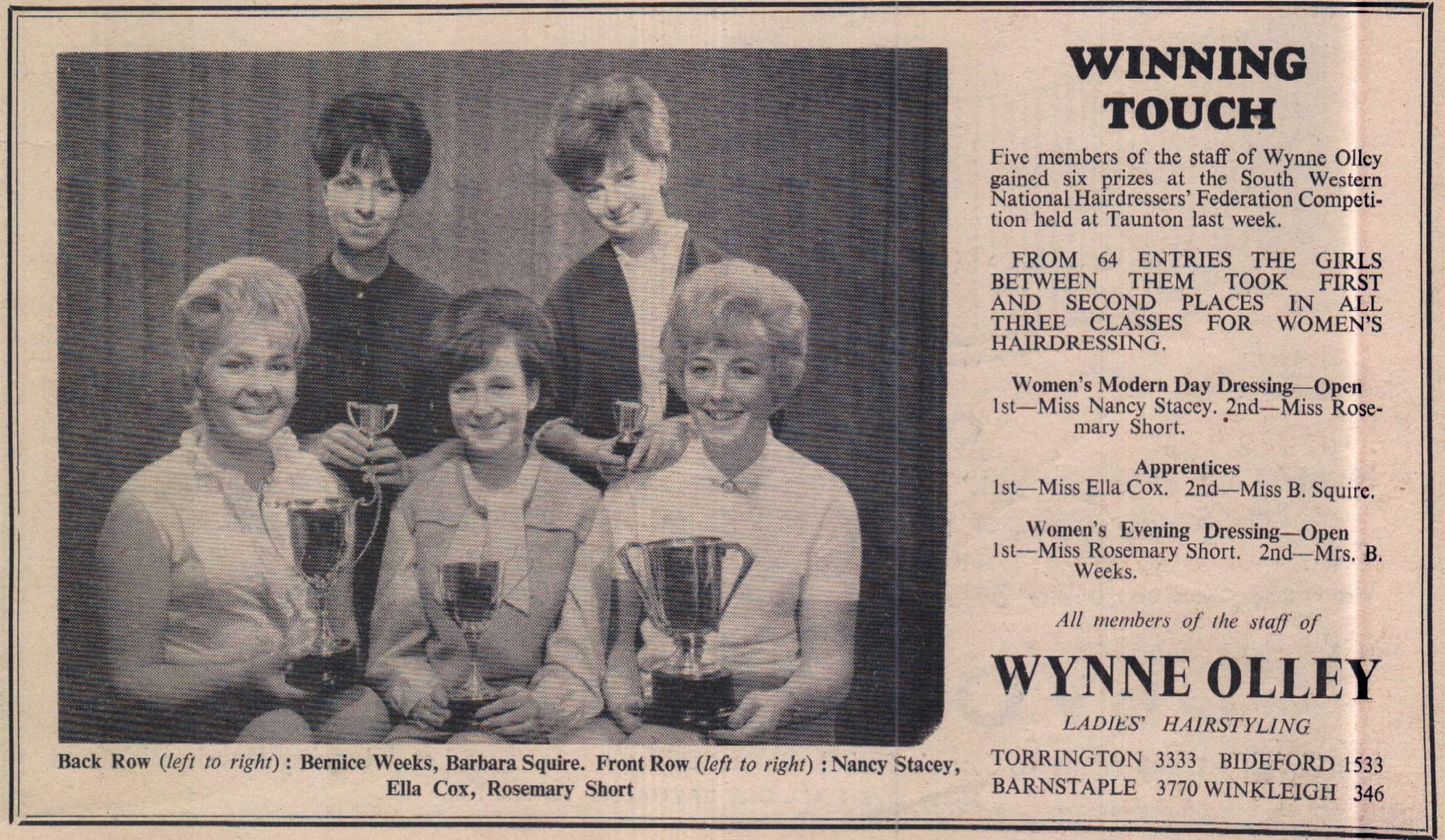 Wynne Olley Success - September 1962