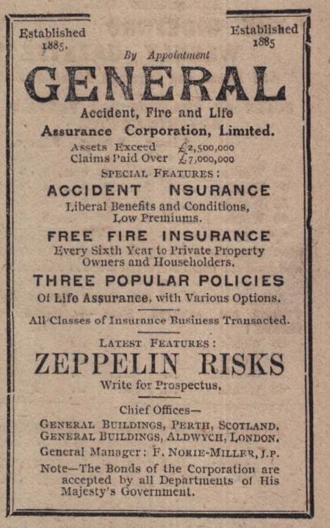 Zeppelin insurance cover offered during first world war 1917