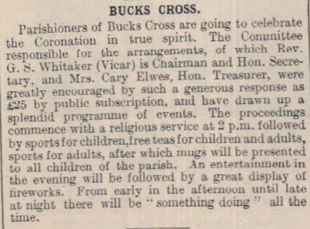11.5.1937 Coronation Bucks Cross