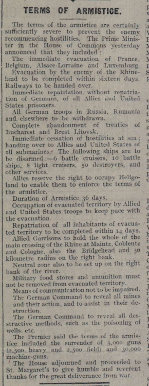 16.11.1918 Terms of Armistice