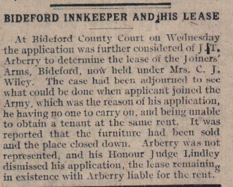 17.9.1918 Bideford innkeeper