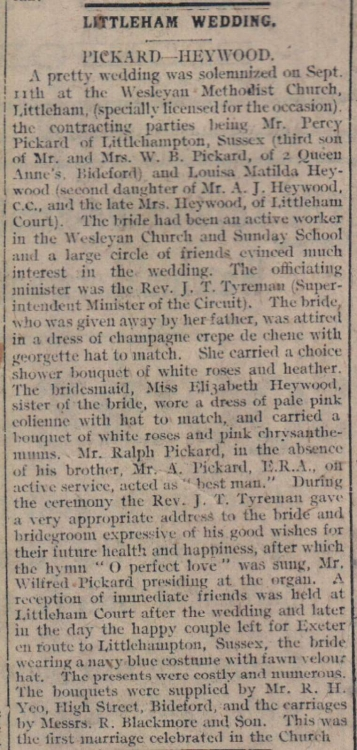 17.9.1918 Littleham wedding