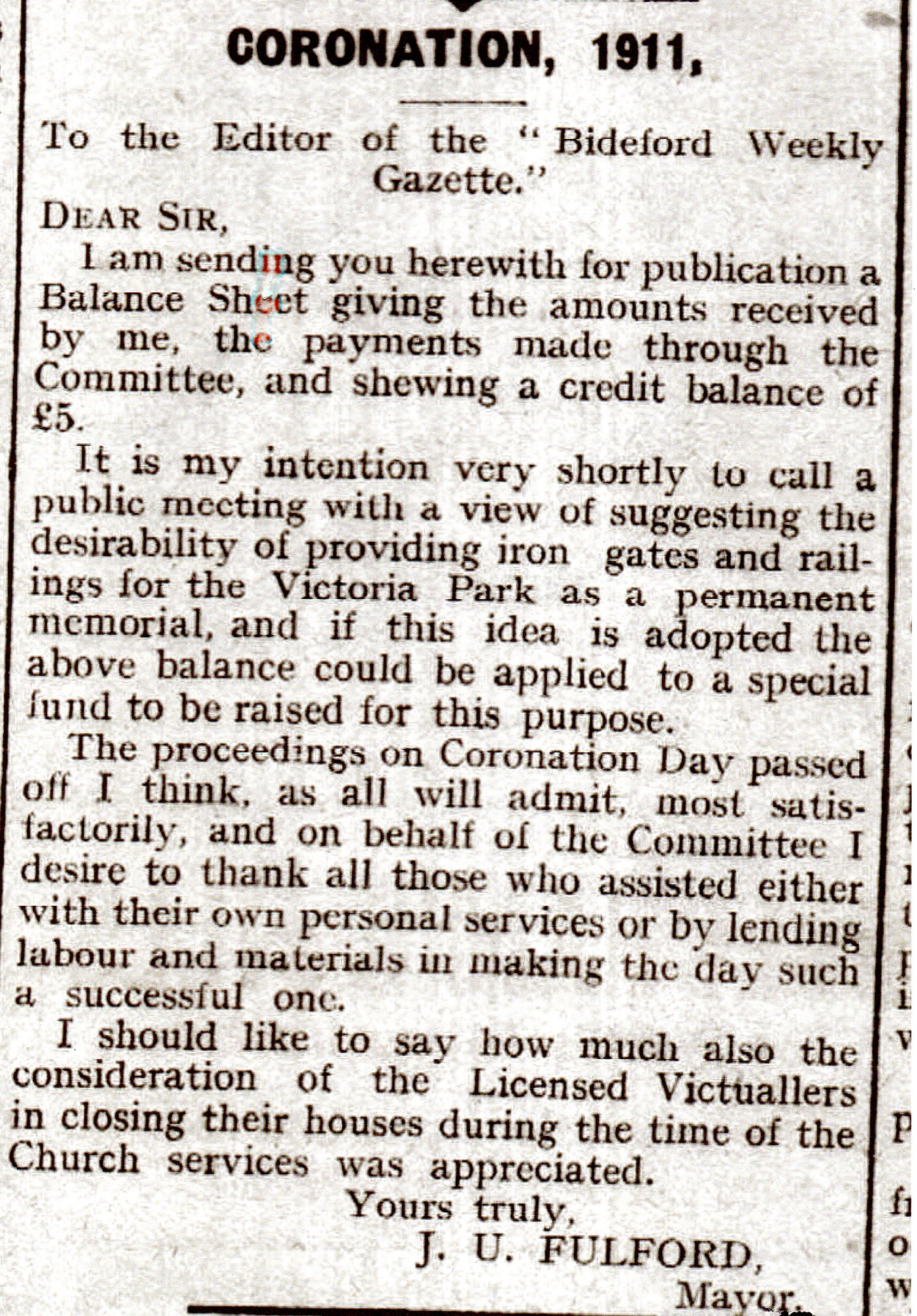 1911 Coronation Letter from Mayor