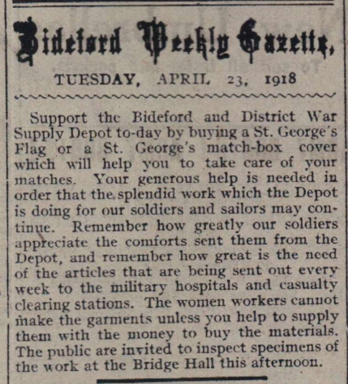 23.4.1918 Bideford War Supply Depot