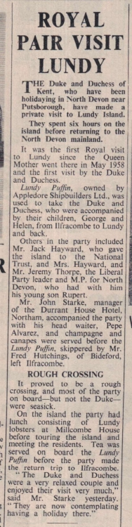 18 August 1972 Royal Visit to Lundy