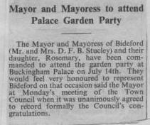 1 July 1955 Royal Garden Party for the Stucley's