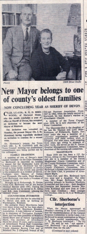 1963 New mayor of Bideford Birdwood