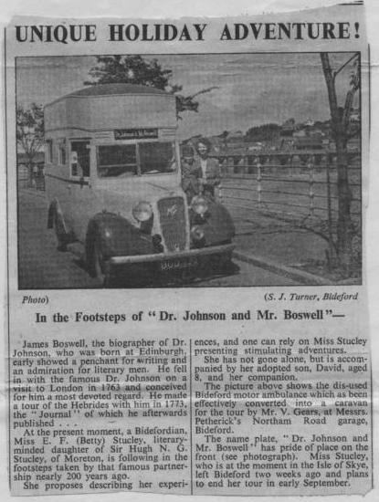 Miss E Stucley goes travelling in 1952