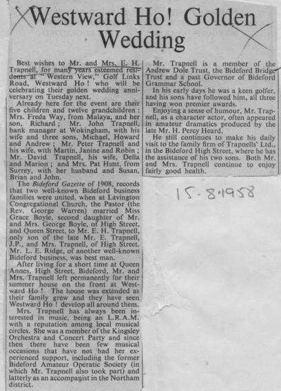 15 August 1958 Trapnell Golden wedding