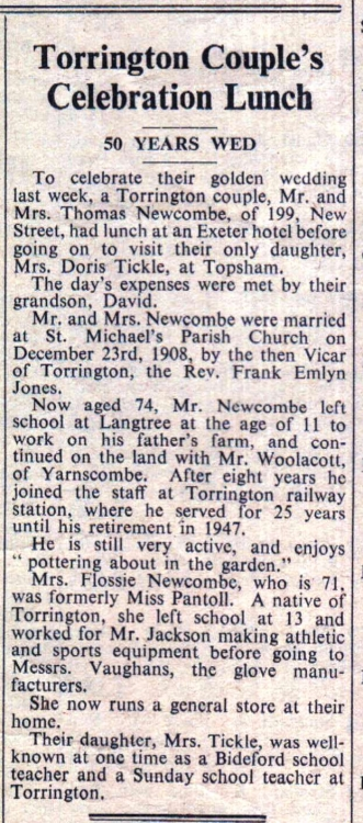 2 January 1959 Newcombe Golden Wedding