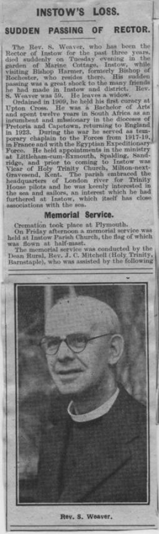 21 October 1941 Reverend Weaver of Instow