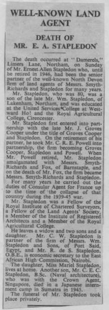 Death of Mr E A Stapledon 1952