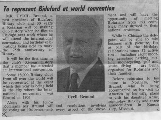 To Represent Bideford at World Convention - 1980