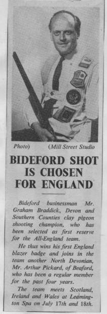 Bideford Shot is Chosen for England - 1970