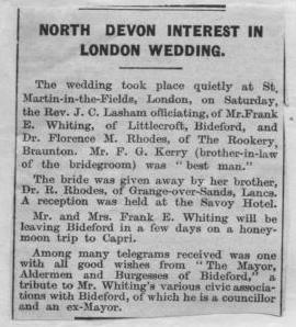 July 1937 Frank E Whiting wedding