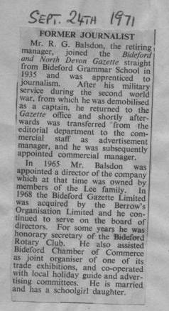 Gazette's Retiring Manager - R Balsdon 1971