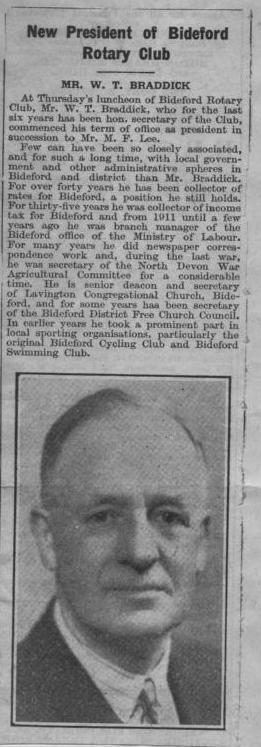 New President of Bideford Rotary Club, 1940