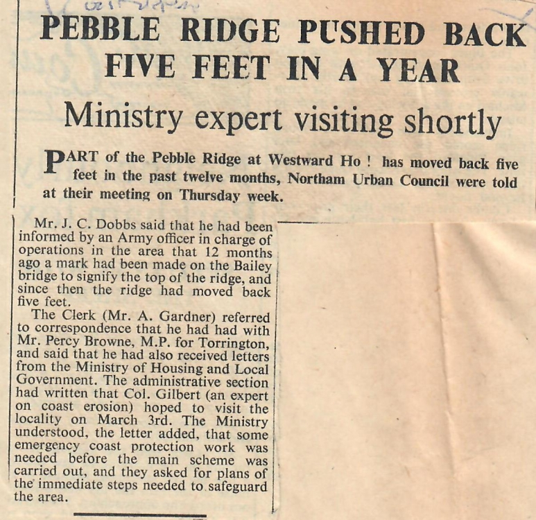 Pebble Ridge Pushed Back Five Feet In a Year 19.02.1960