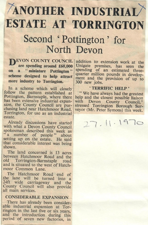 Second 'Pottington' for North Devon 1970