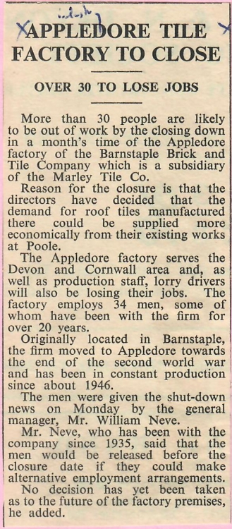 Appledore Tile Factory to Close 12.01.1968