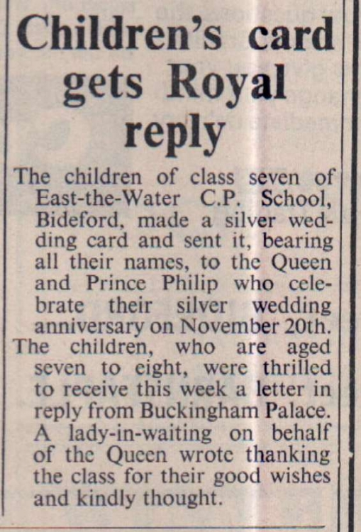 November 1972 Royal reply