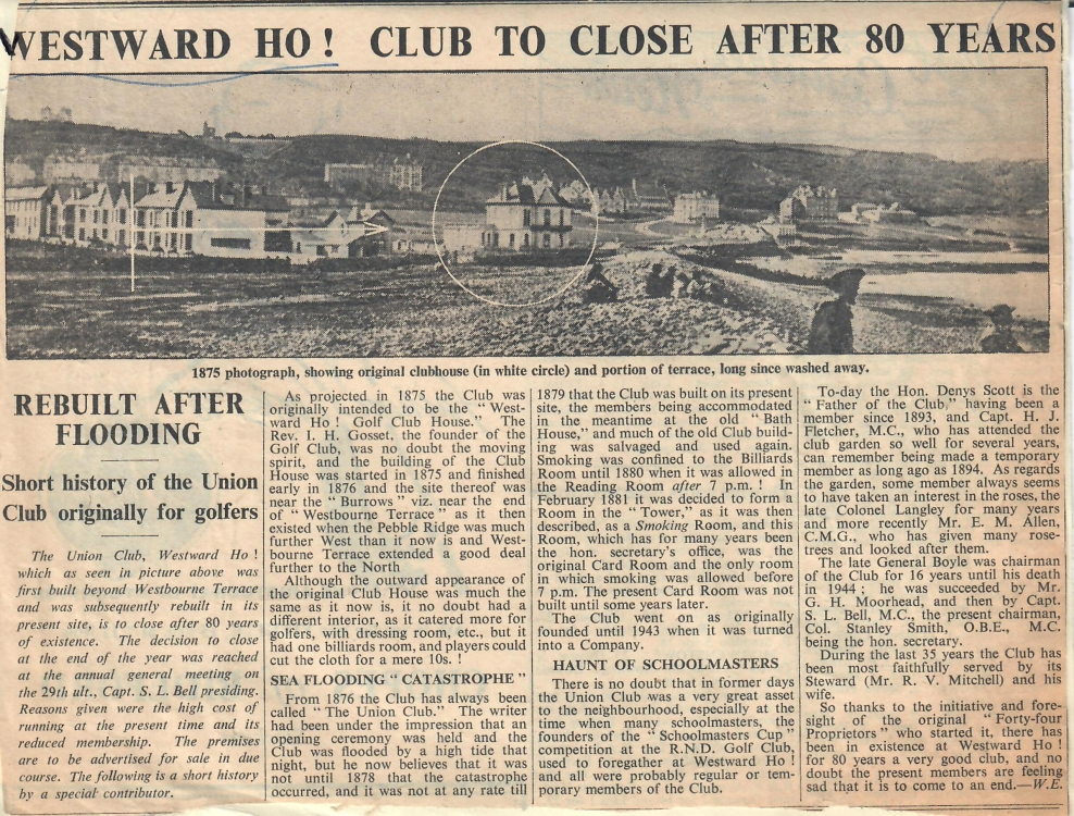 Westward Ho Club to Close after 80 Years 13.07.1956