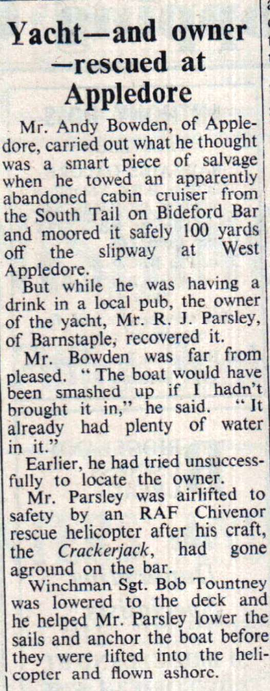 18 August 1972 Yacht rescued at Appledore
