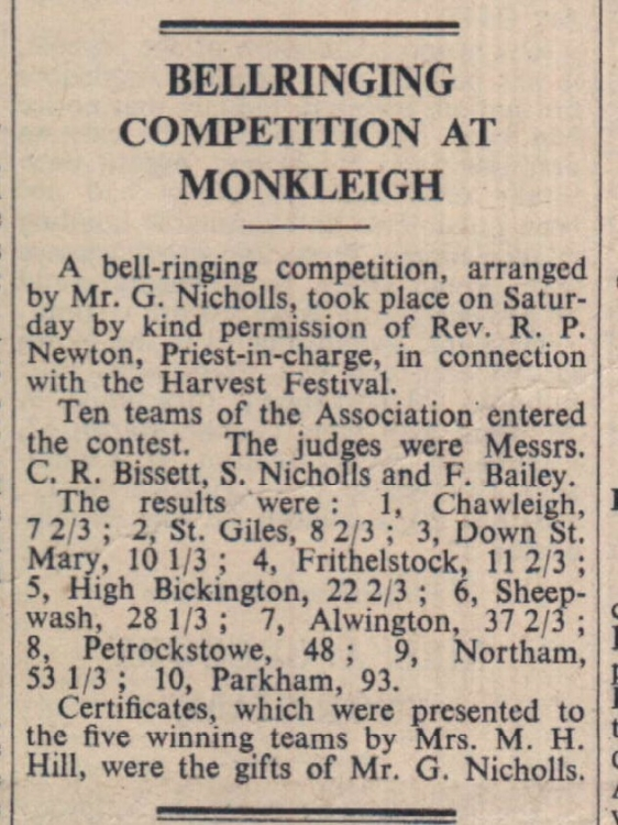 1950 bell ringing Monkleigh