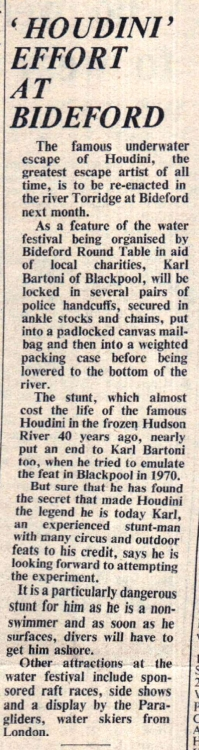 1975 Houdini escape at Bideford