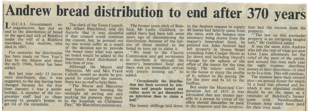 Andrew bread distribution to end after 370 years 27.12.1974