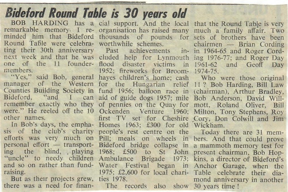 Bideford Round Table is 30 years old 26.2.1982