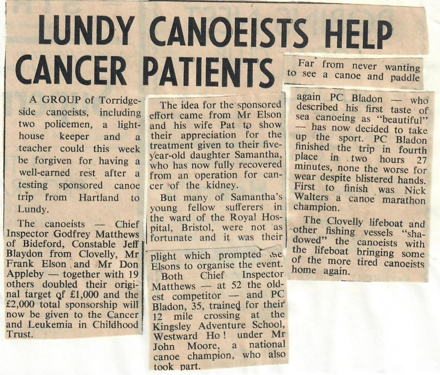 Lundy Canoeists Help Cancer Patients 28.8.81
