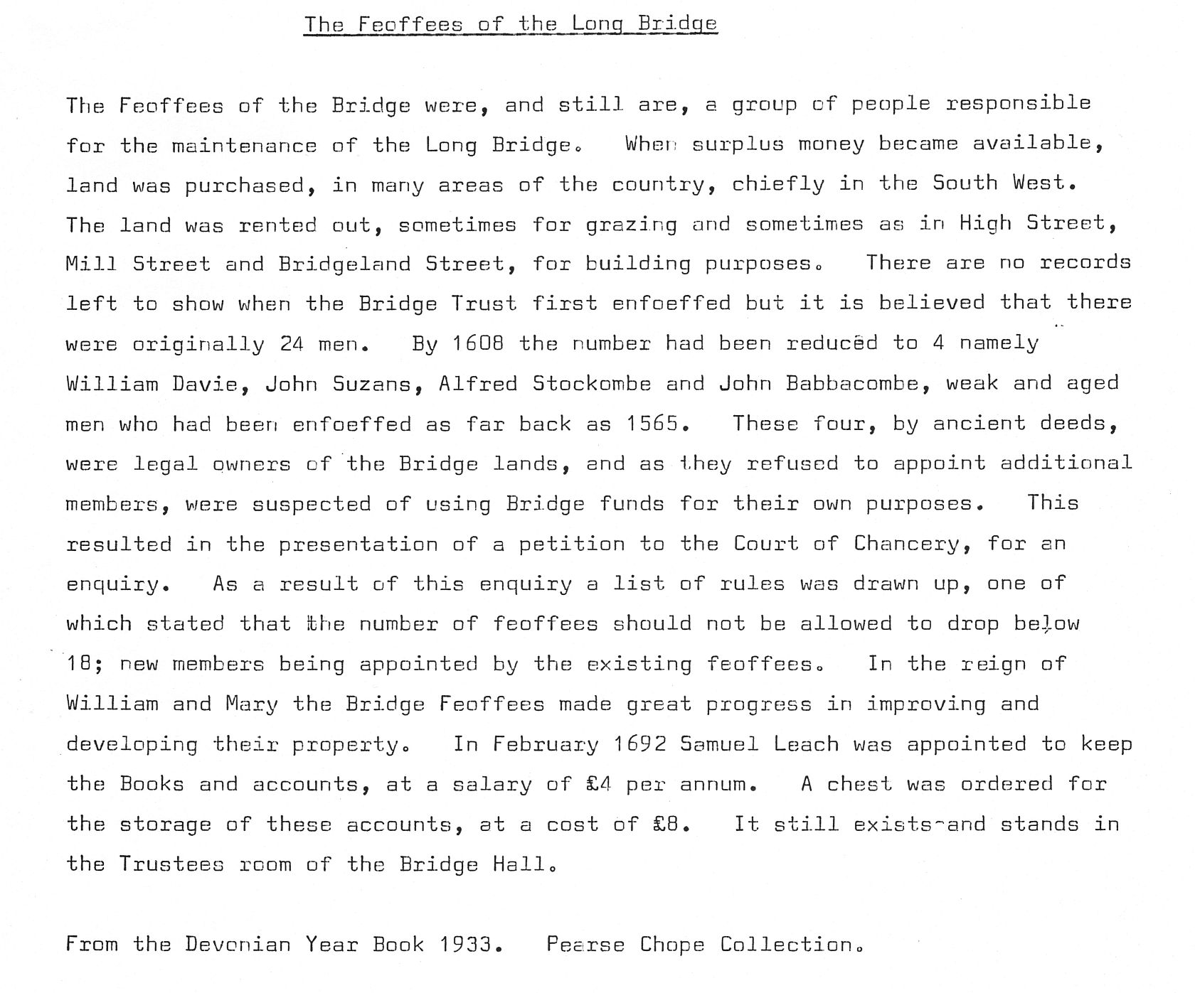 The Feoffees of the Long Bridge med