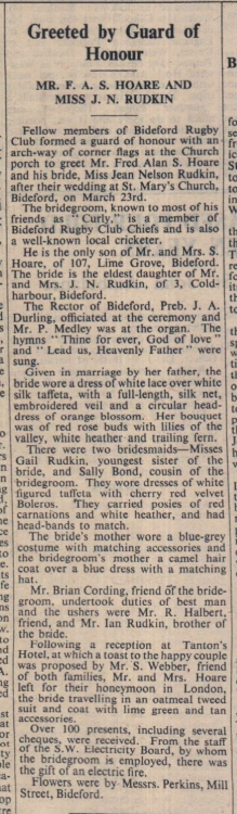 1.4.1955 Hoare Rudkin wedding