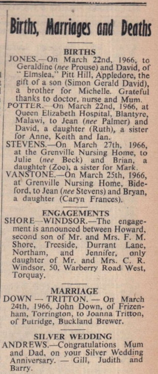 1.4.1966 births and engagements