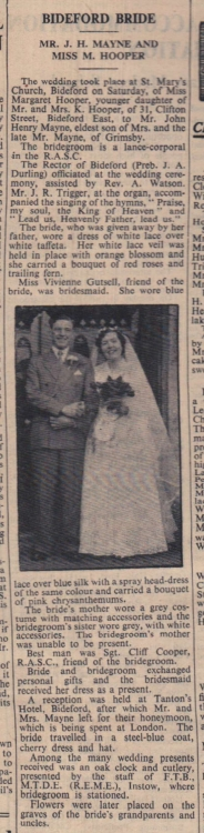 1954 Mayne and Hooper wedding