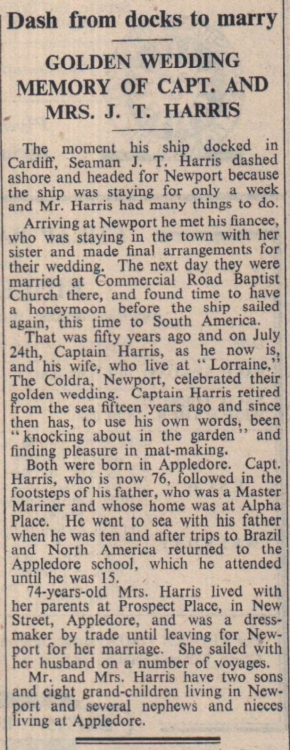 17.8.1951 Appledore Harris Golden Wedding