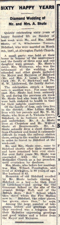 18.3.1947 Shute Diamond Wedding