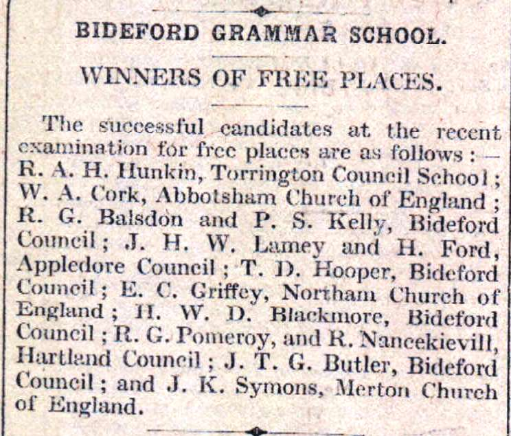 2.7.1929 free places at Bideford Grammar