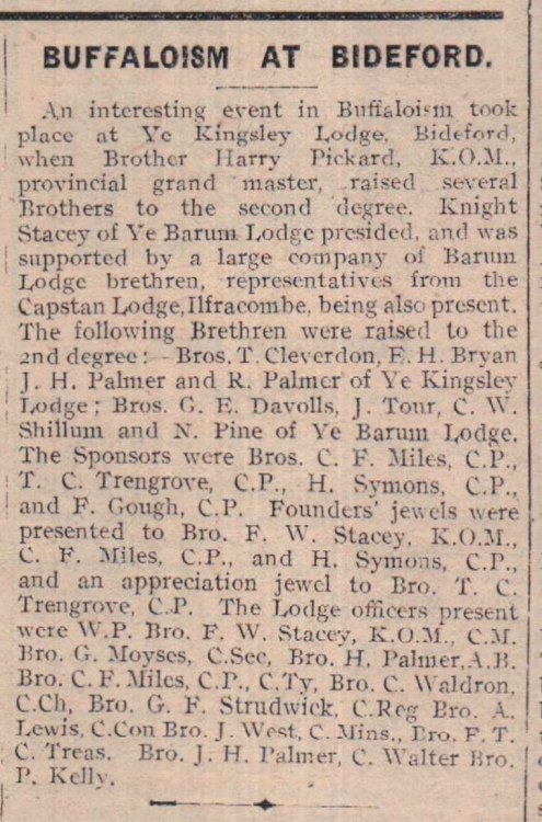 20.2.1923 Buffaloism at Bideford