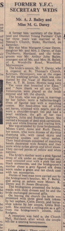 21.3.1958 Hartland Bailey Davey wedding