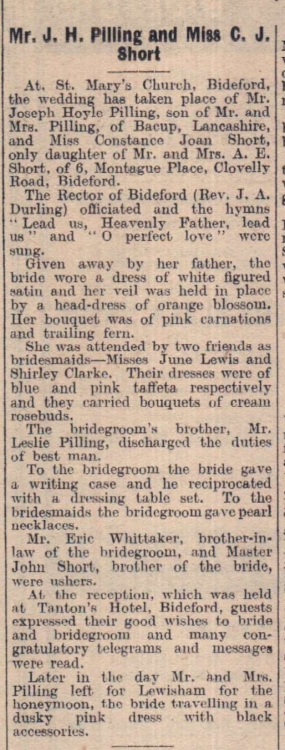 23.12.1947 Pilling Short wedding