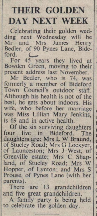 26.1.1973 Bedler golden wedding