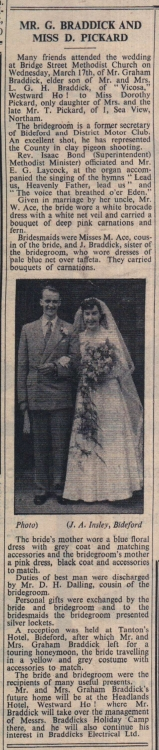 26.3.1954 Braddick Pickard wedding