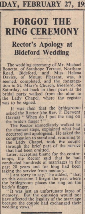 27.2.1959 forgot the ring ceremony