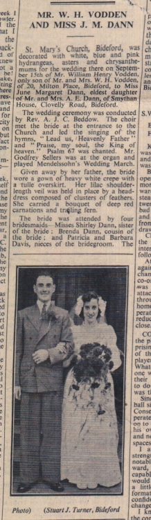 28.9.1951 Vodden Dann wedding Bideford1