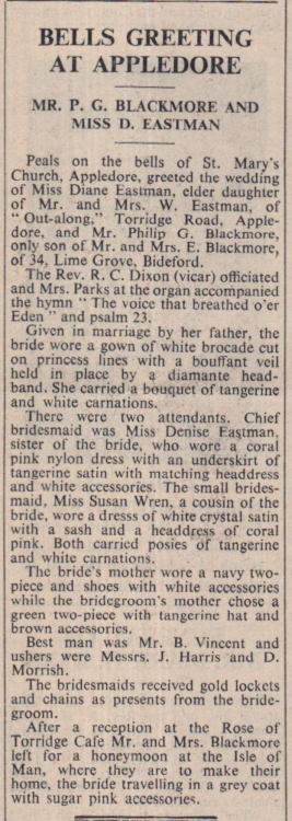 5.4.1963 Blackmore Eastman wedding