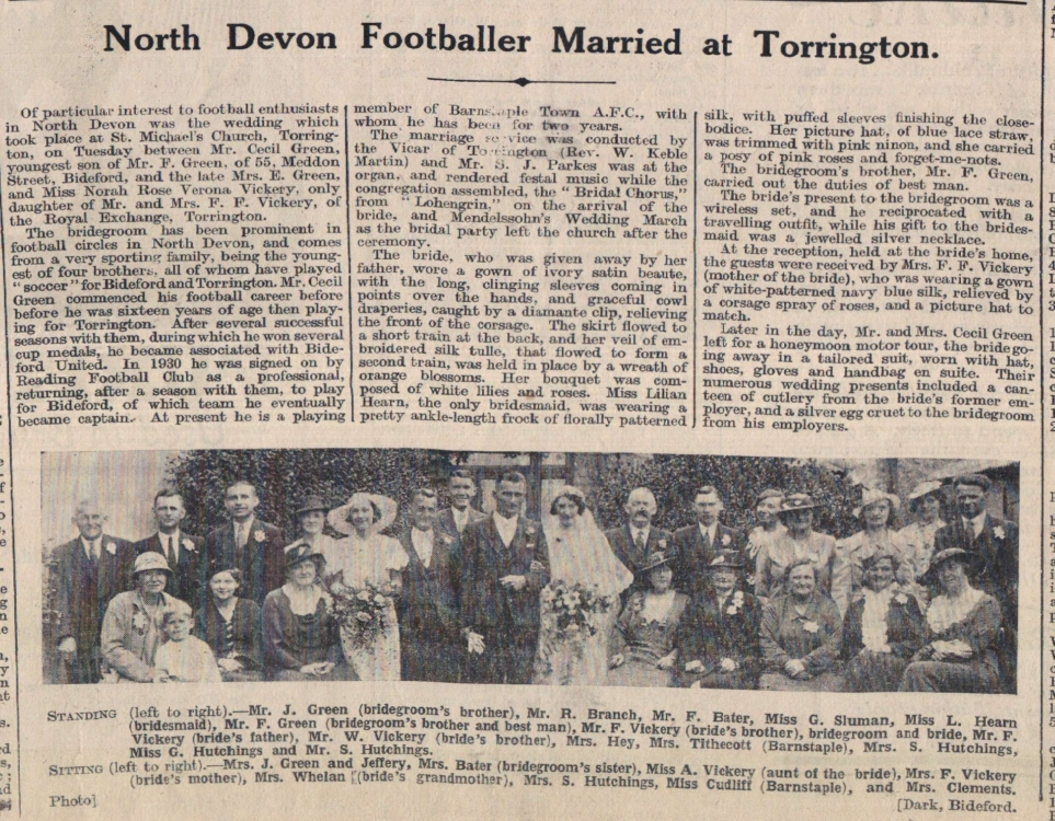 8.6.1937 Green Vickery wedding Torrington