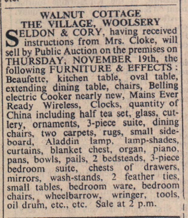 13 November 1959 Walnut Cottage