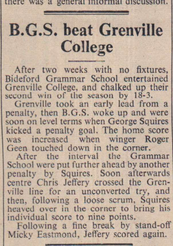 16.11.1962 BGS Grenville rugby